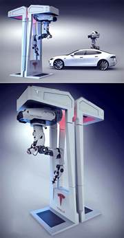 Tesla Charge Stations Futuristic Tesla Charging Station Has A Drone That Looks