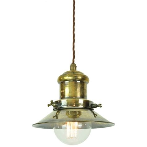 Vintage Style Pendant Lights Nautical Style Ceiling Pendant In Aged Brass With Vintage Bulb