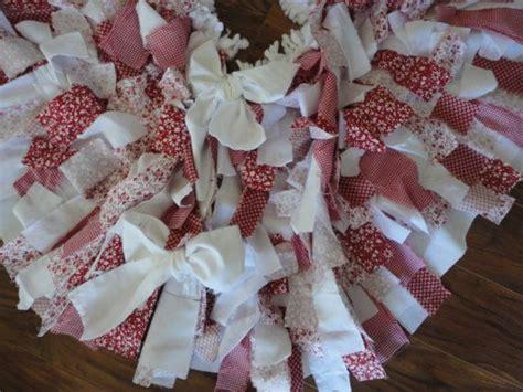 christmas tree skirt shabby chic rag skirt red white