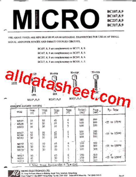 datasheet of transistor bc107 bc109 datasheet pdf micro electronics