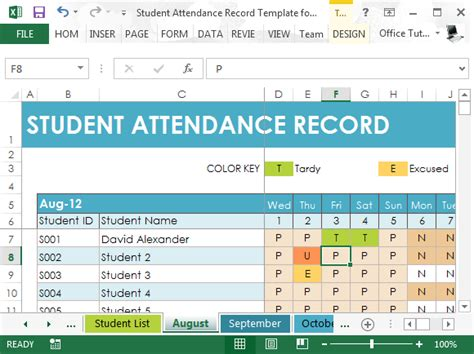 Student Attendance Record Template For Excel Student List Excel Template