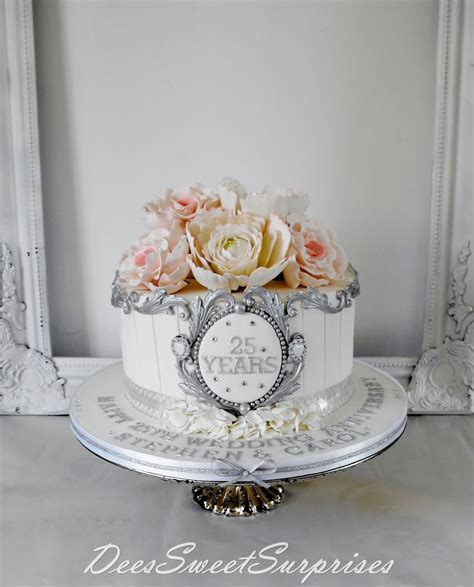 Silver Wedding Anniversary Cake   CakeCentral.com