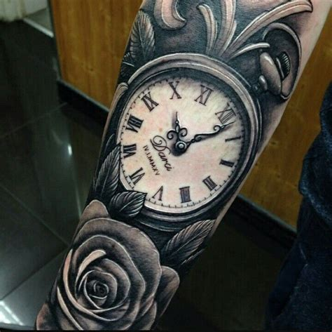 rose and watch tattoo modern pocket and forearm tatoo