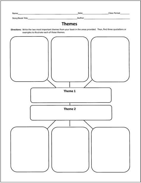 theme in literature graphic organizer free graphic organizers for teaching literature and reading