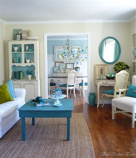 Aqua Green Living Room by Turquoise Green White Shabby Chic Living Room