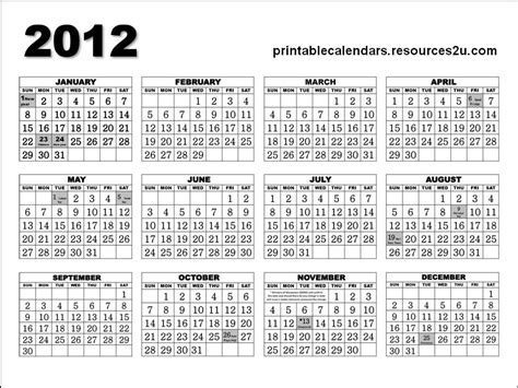printable yearly calendar for 2012 printable yearly calendar 2012 2015