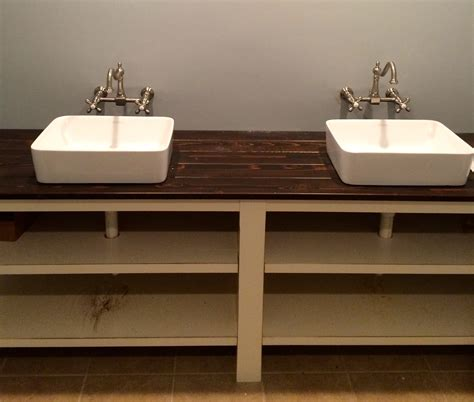 what are bathroom sinks made of a bathroom vanity made out of a stained cedar plank