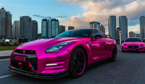 pink maserati gallery chrome pink wrapped nissan gt r and maserati
