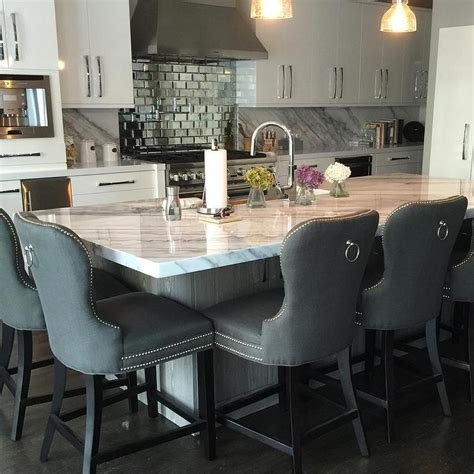 Z Gallerie Counter Stools by Beveled Subway Tile Backsplash Contemporary Kitchen
