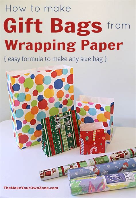 Make Your Own Gift Wrapping Paper - make a gift bag from wrapping paper the make your own zone