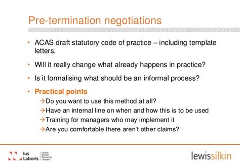 Termination Letter Template Acas Unfair Dismissal And Employment Tribunals