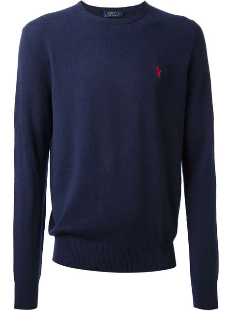 Polo Sweater lyst polo ralph logo sweater in blue for