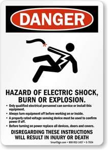 hazard of electric shock burn explosion danger sign sku