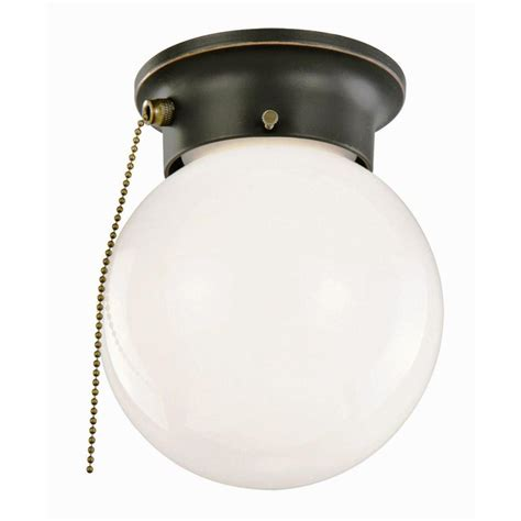 Pull Chain Ceiling Light Design House 1 Light Rubbed Bronze Ceiling Light With Opal Glass And Pull Chain 519264 The