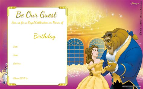 And The Beast Birthday Card Template by Free Printable And The Beast Royal Invitation