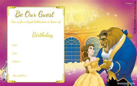 and the beast birthday card template free printable disney princess birthday invitations