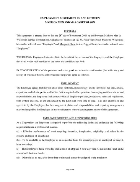 Contract Letter Between Employer And Employee Sle Employment Contract