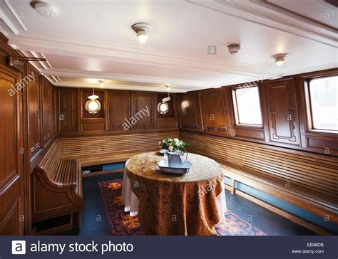 nomadic boat belfast inside the nomadic ship at titanic belfast stock photo