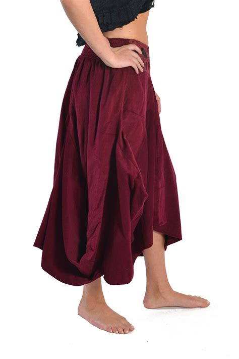 Two Side Draped Skirt draped corduroy skirt