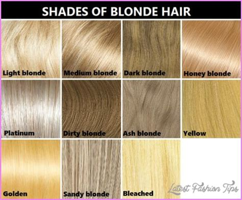 latest hairstyles color chart hair color blondes different blondes colors blonde hair