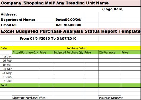 excel budgeted purchase analysis status report template
