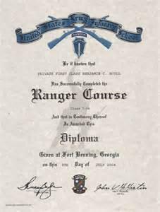 u s army ranger certificate