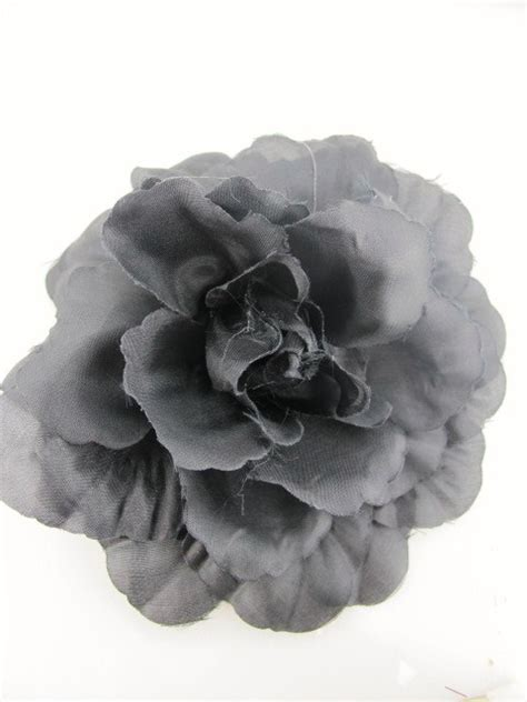 Corsage Black Grey black silk effect fabric hair flower clip corsage