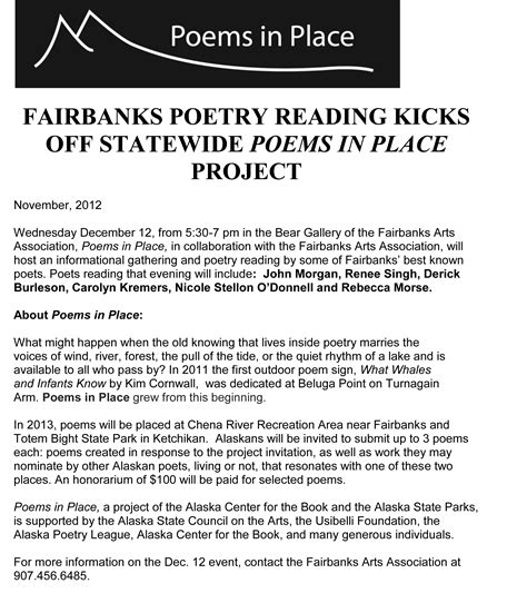 A Place Project Special December Poetry Reading Poems In Place Fairbanks Arts Association