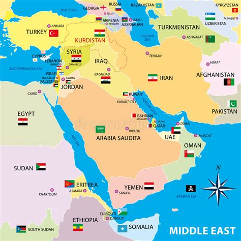 middle east map vector free middle east map with borders and flags stock illustration