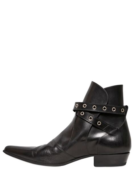 mens laurent boots laurent western buckle leather boots in black for