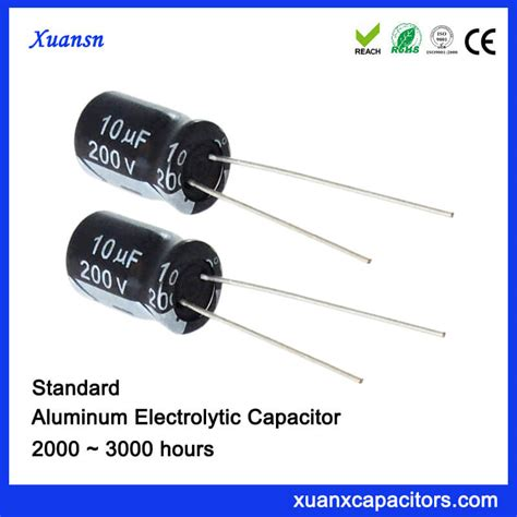 capacitor hours standard dip 10uf 200v aluminum eelctrolytic capacitor