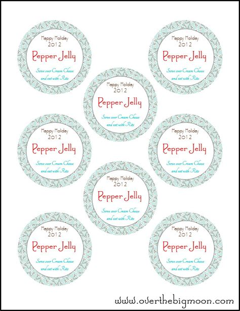 printable canning jar label over the big moon holiday jar labels
