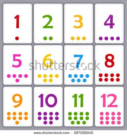 printable number line color flash cards stock images royalty free images vectors