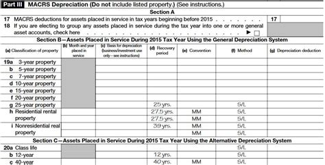 schedule c section 179 irs form 4562 depreciation part 3