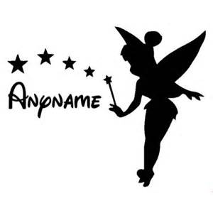 Car Wall Stickers For Nursery tinkerbell with stars and personalised custom name in