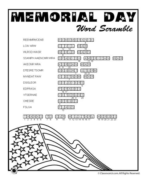 Memorial Day Worksheets by Memorial Day Word Scramble Answer Key Woo Jr