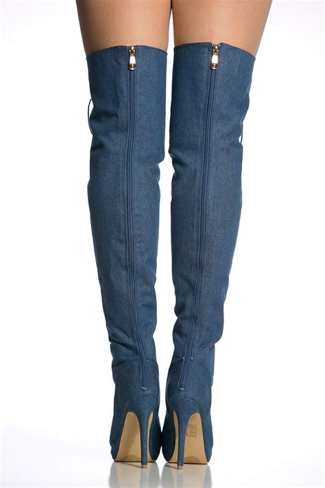 denim lace up open toe thigh high boots cicihot