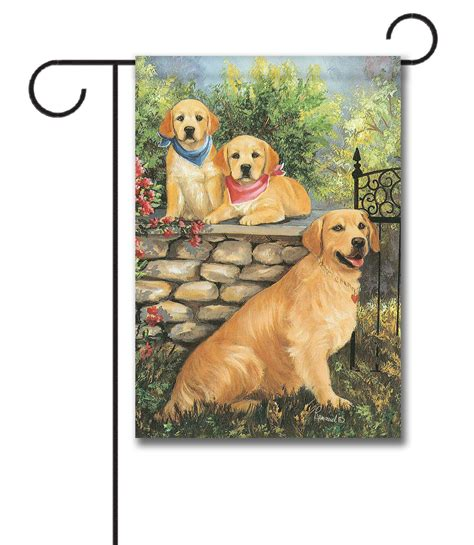 golden retriever garden flag golden retrievers at the gate garden flag 12 5 x 18 custom printed flags