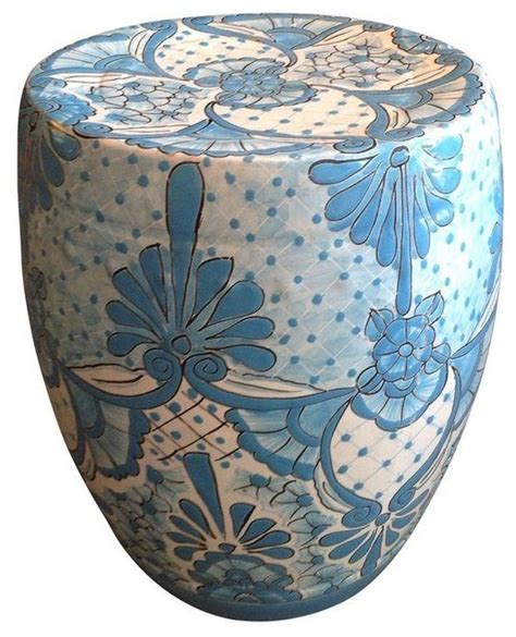 White Garden Stools by Pre Owned Blue And White Garden Stool