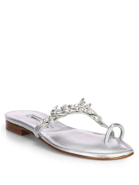 manolo blahnik sandals lyst manolo blahnik nadira jeweled metallic leather