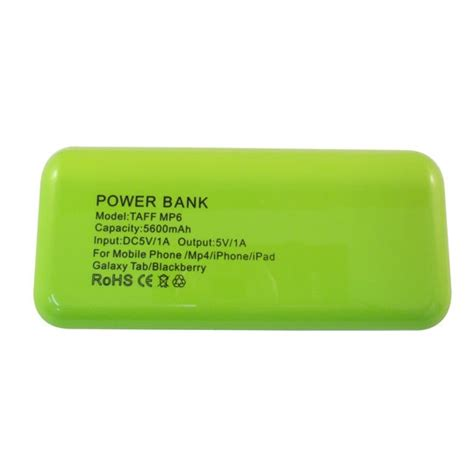 Power Bank Taff taff power bank 5600mah model mp6 for tablet and smartphone green with white side