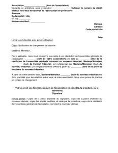 lettre de notification de changement de tr 233 sorier par une