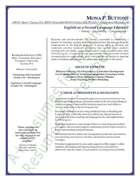 Sle Resume Teaching As A Second Language esl as a second language resume 10 handpicked ideas to discover in other