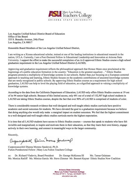 Research Letter Of Support Letter By Dr Cueponcaxochitl Dianna Moreno Sandoval Ethnic Studies Now