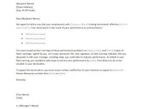 Termination Of Employment Letter Exle by Employee Termination Letter Template Free