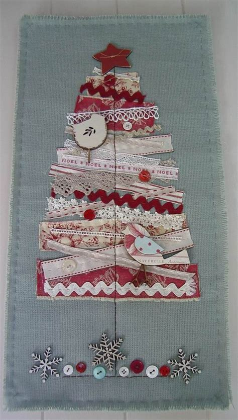 scrap fabric wall hanging christmas tree applique using