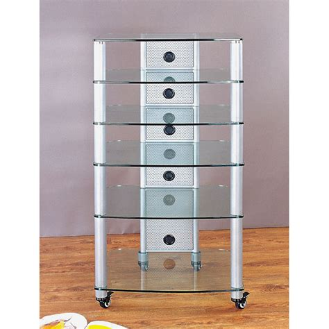 Mobile Audio Rack Vti 6 Shelf Mobile Audio Rack Silver With Clear Glass Ngr406sw