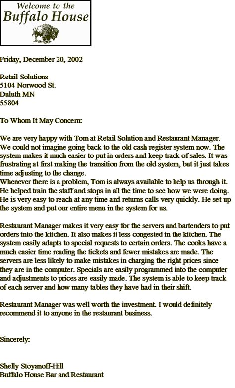 Recommendation Letter From Employer Restaurant Testimonial Hospitality Solutions Duluth