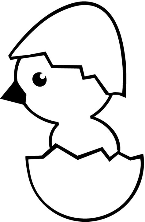 bird hatching coloring page worksheet of cute cartoon chick hatching from egg