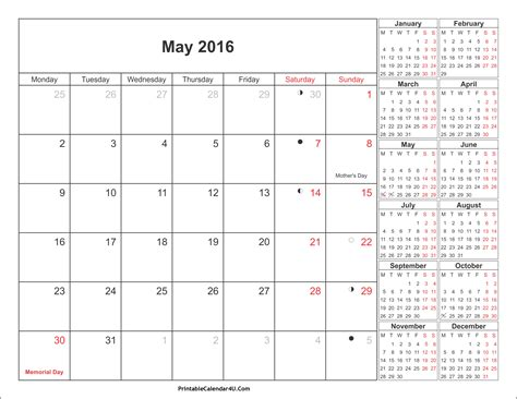 printable planner may 2016 may 2016 calendar printable with holidays pdf and jpg